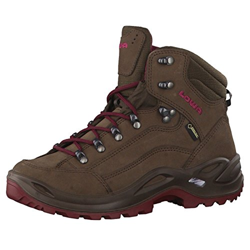Lowa Renegade Gore-Tex Mid Espresso Berry Womens Boots Size 4.5 UK Brown Berry