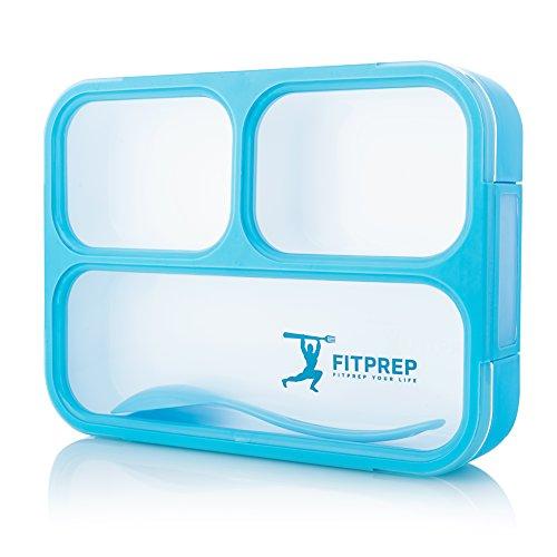 Original FITPREP® Lunchbox I Meal Prep I Bento box I 3 Fächer + Löffel I Auslaufsicher - auch jede Kammer untereinander I Mikrowellengeeignet (ohne Deckel) I BPA frei I Beste Qualität für jeden