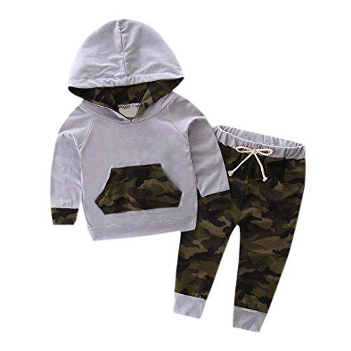 2PCS Tops+ Pantaloni, feiXIANG Abbigliamento bimbo bambino set neonato tuta con cappuccio Top + Pantaloni mimetica Abiti--Incantevole,Stampa di camuffamento (12 Mesi, Grigio)
