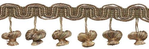 Beige Multi Ton 5,1cm Barock Zwiebel Quaste Fransen, Stil # tfb2Farbe: Sandstein-7245, verkauft von der Yard Multi Fringe