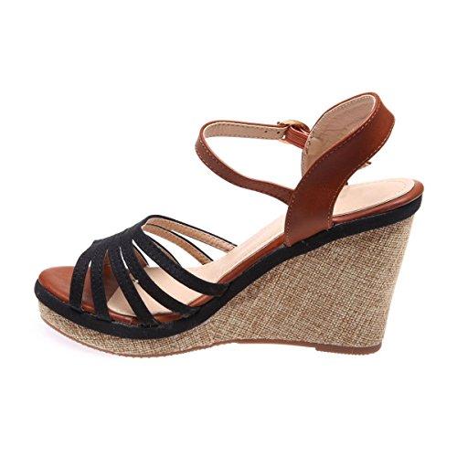 La Modeuse - Sandales en tissu et simili cuirà talon compensé Noir
