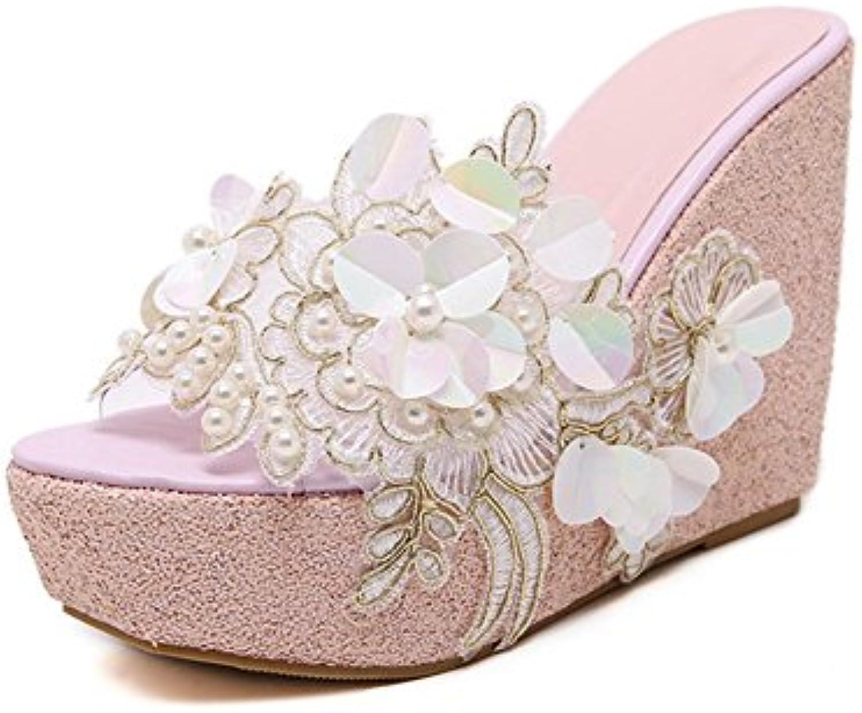 liuhoue femmes a été cool pantoufles, talons haut de dentelle rose rose dentelle de plate - forme de plates - formes, des fleurs, des sandales d2f469