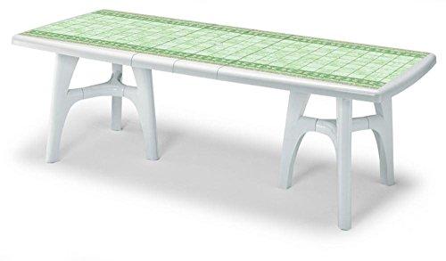 Piano Per Tavolo Plastica.Tavolo Per Esterno Bianco Con Piano Stampato Pietra Tavolo