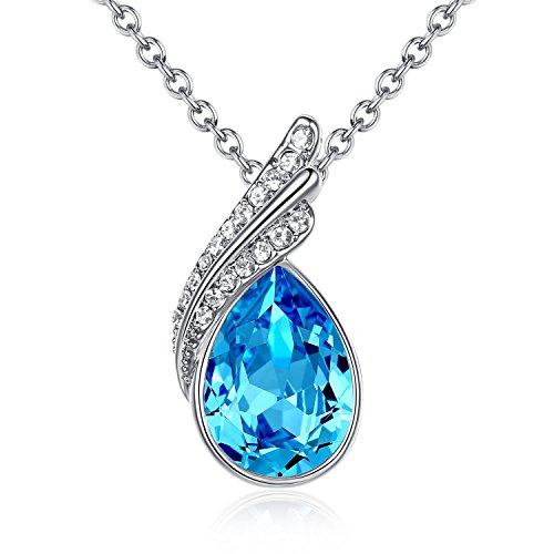 GoSparking collana del pendente Aquamarine cristallo blu dell'oro bianco 18K della lega con il cristallo austriaco per le donne