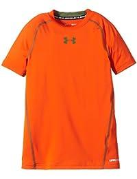 Under Armour Heat Gear - Camiseta de Manga Corta para Niño, color Naranja (Toxic Orange), talla S