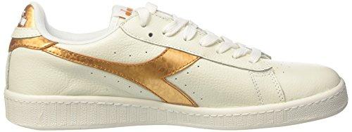 Diadora Game Metallic, Sneakers Basses Homme Blanc Cassé (Bianco/oro)