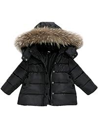 Abrigo acolchado para bebé niña con pelo en capucha,Yannerr niñas niños abajo chaqueta otoño invierno cálido ropa
