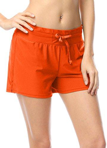 Damen UV Schutz Orange Wassersport Schwimmen Bikinihose Badeshorts Schwimmshorts Boardshorts S (Anzug Orange Rock)