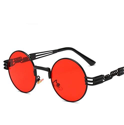 AOCCK Sonnenbrillen,Brillen, Vintage Retro Gothic Round Steampunk Mirror Sunglasses Yellow And Blue Sun Glasses Vintage Round Circle Men UV Gafas De Sol red llens black