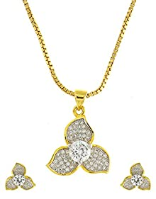 88ade38d5f Anuradha Art Golden Finish White Colour Flower Styled Designer Amerincan  Diamonds Stone Pendant Set For Women