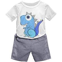 Conjuntos Niño Ropa 2-6 Años , ❤️ Amlaiworld 2PC Ropa niños de verano Conjuntos Camisas Camiseta Estampada con Dinosaurio Dibujos Animados y Pantalón Corto a Rayas