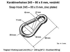 2 Karabinerhaken Karabiner Haken Schnapphaken 60x6mm V