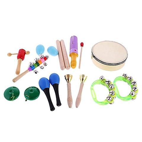 MagiDeal Kit 10pcs Instruments à Percussion en Bois Jouet Musical Eveil Bébé Cadeau Enfant
