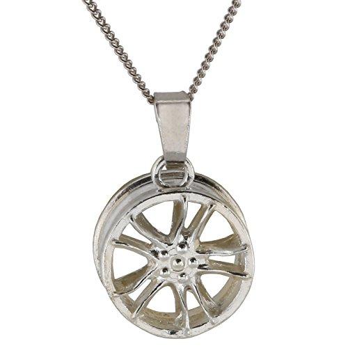 Felge Silber Anhänger Männer Kette Lang 55cm von m3crystal Schmuck für Mann Freund Silberkette 925 Rhodium Sterling Schmuck für Herren Silber-Anhänger Halskette tolles Geschenk für Männer