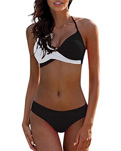 Minetom Bikinis Mujer 2018 Push Up Sujetador Acolchado Traje De Baño Bikini para Mujeres Niñas Negro ES 42