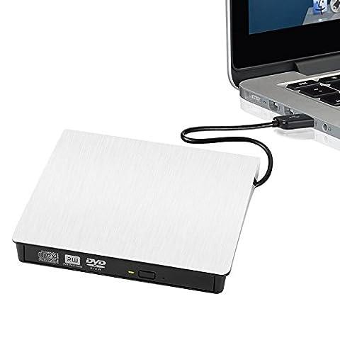 KOBWA USB3.0 DVD-RW DVD/CD Brenner Slim Extern Laufwerk Portable(tragbar) DVD CD Brenner, 9,5mm Chip,Superdrive für Alle Laptops/Desktop Z.B Lenovo,Acer,Asus; PC Unter Windows und Mac OS für Apple Macbook, Macbook Pro, MacbookAir, IMac
