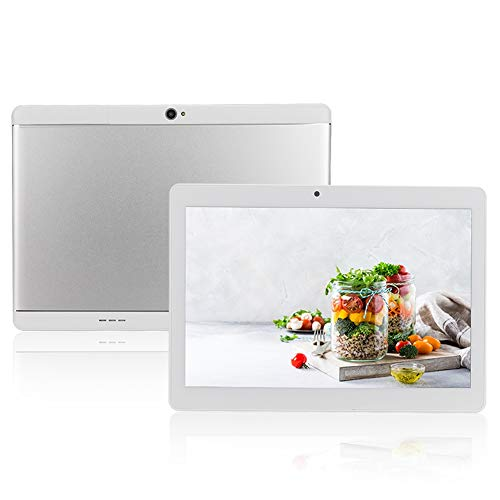 ASHATA 10,1 Zoll Tablet-PC, HD IPS Bildschirm MediaPad Tablet 1G+16G Speicher Dual SIM Dual Standby Tablet,Tragbar Dual-Kamera Quad Core 3G Anruf Tablet Für Android 4.44 EU Stecker(Silber) Flash 2 Voicemail