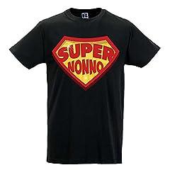 Idea Regalo - Babloo T Shirt Uomo Idea Regalo Festa dei Nonni Super Nonno Nera XXL