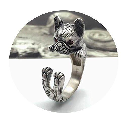 Epinki Plata de Ley 925 Vintage Ajustable Perro Bulldog Anillo para Mujer y...