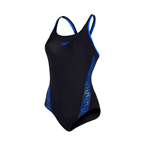 Speedo Damen Badeanzug Monogram Muscleback Black/Deep Peri, 32