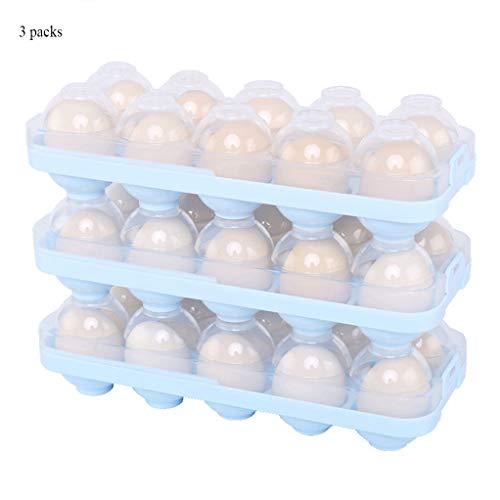 CHUN BO Ei-Aufbewahrungsbox-Set, Lebensmittel-Aufbewahrungsbox Stapelbar & Geeignet Für Kühlschrank, Picknick & PP-Material & Einlagig 10 Eier & 3 Stück