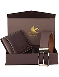 HORNBULL Men's Brown Wallet and Belt Combo BW3095