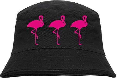 HB_Druck 3 Flamingos Fischerhut - Bucket Hat L/XL Schwarz
