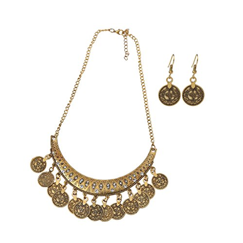 VIccoo Jingle Dancing Gypsy Jewelry Ethnische Münze Halskette Ohrringe 2-teiliges Schmuckset Damen - Gold