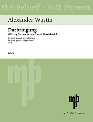 Darbringung: in memoriam Dmitri Schostakowitsch. Violine, Viola, Violoncello, Klavier, Campanelli, Schlagzeug (2 Spieler). Partitur und Stimmen.