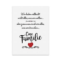 Kunstdruck, Poster mit Spruch - EINE Familie - Typografie-Bild auf hochwertigem Karton - Plakat, Druck, Print Wandbild