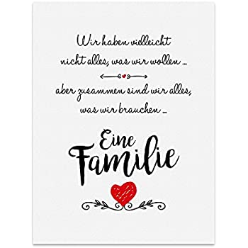 kunstdruck poster mit spruch eine familie typografie bild auf hochwertigem karton plakat. Black Bedroom Furniture Sets. Home Design Ideas