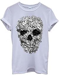 Skull Flower Retro Vintage Funny Hipster Swag White Femme Homme Men Women Unisex Top T-Shirt