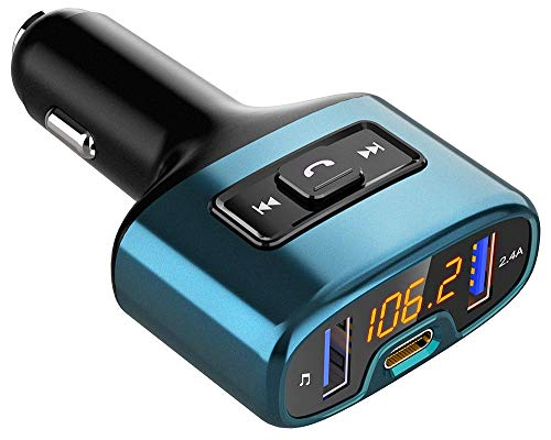 Trasmettitore FM Bluetooth, Bovon Trasmettitore Bluetooth per Auto Radio Wireless Adattatori Vivavoce Car Kit con Chiamate Vivavoce, Porta di Ricarica Type-C & 2 Porte USB &, U Flash Drive (Nero)