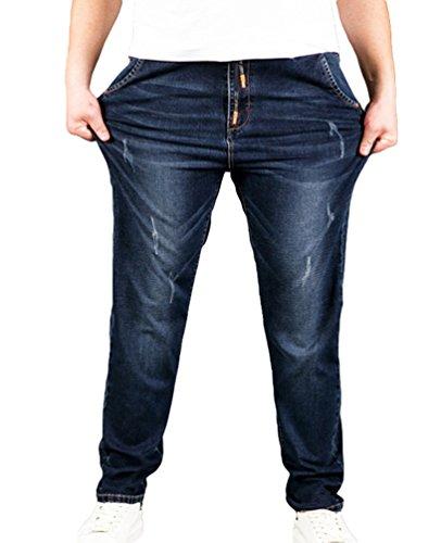 Heheja Herren Denim Hose Super Elastizität Jeans Übergröße Jeanshosen 4XL
