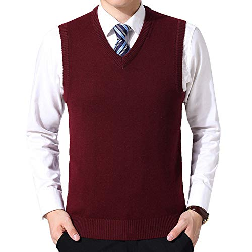 New Pullover Sweater Clothing Men Autumn V Neck Slim Vest Sweaters Sleeveless Men's Warm Sweater Cotton Casual - Cashmere Deep V-neck Sweater