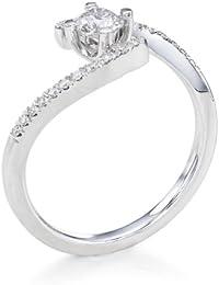 Solitaer Diamantring - Round mit Zertifikat 0.42 Karat, 18 Karat (750) Weißgold