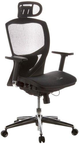hjh OFFICE 657000 Bürostuhl Chefsessel VENUS ONE Netzstoff schwarz, ergonomische flexible Lendenwirbelstütze, hoher Sitzkomfort, Drehstuhl ergonomisch, verstellbare Armlehnen, Schreibtischstuhl
