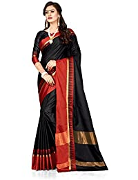 Pramukh Suppliers Women's Cotton Black Striped Zari Saree With Blouse Piece (Temple_Black_Free Size)
