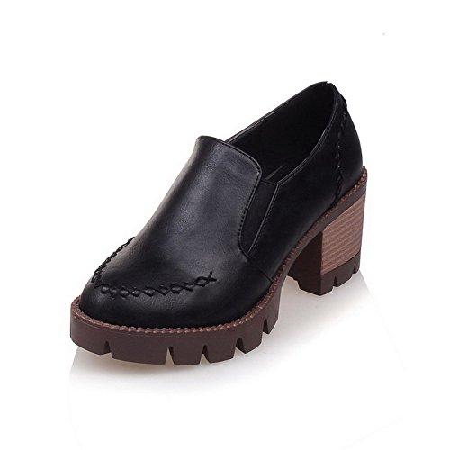 AgooLar Femme à Talon Correct Couleur Matière Souple Rond Chaussures Légeres Noir