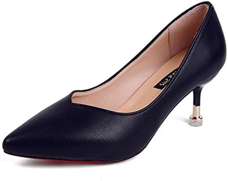 DIMAOL Damenschuhe PU Feder Fallen Komfort Heels High Heel Schuhe für Casual Beige Schwarz