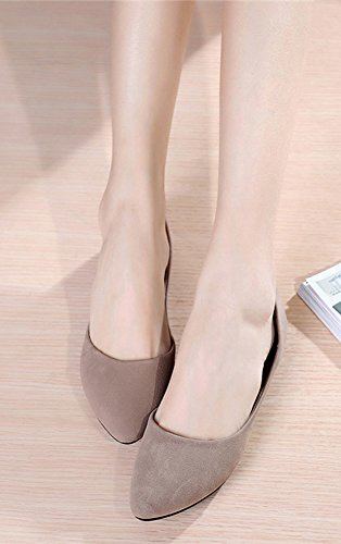 Aisun Damen Nubukleder Pointed Toe Low-Cut Flach Slipper Beige