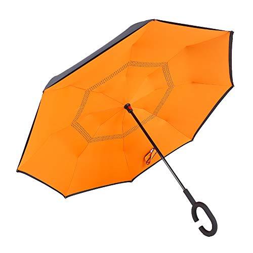 FINIVE Cartoon Reise-Regenschirm, C-förmiger Griff, gerade, Winddicht, Regen, Sonne, wasserdicht, Sonnenschirm orange Orange