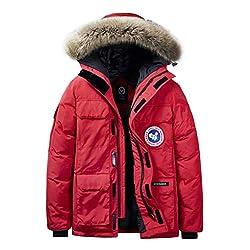 JIANYE Winterparka Herren Parka Jacke Gefüttert Winterjacke Warme Jacke Outdoor Kapuzenjacke Winddicht Parka Rote 5XL