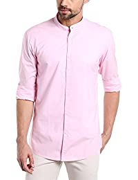 Dennis Lingo Men's Cotton Pink Solid Casual Shirt
