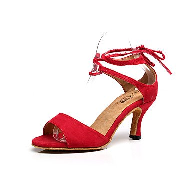 Silence @ Chaussures de danse pour femme Flocage Flocage Latin Sandales Stiletto Talon Practise/débutants/Professional/intérieur/performances bleu
