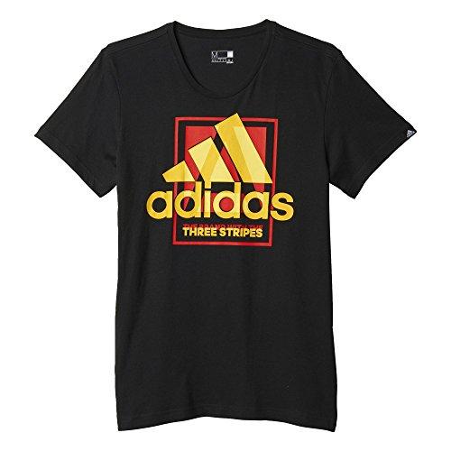 adidas Herren Country Logo T-Shirt, Weiß-Weiß Schwarz