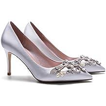 ALUK- Zapatos nupciales - finos con la boca superficial puntiaguda Zapatos de la boda de plata Zapatos de las mujeres (con los altos 8cm) ( Color : La Plata , Tamaño : 37 )