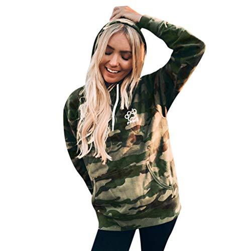 Felpe Tumblr Ragazza Tops Eleganti Donna Sweatshirt Grandi Shirts Pullover Autunno Inverno Camicie Bluse beautyjourney,Stampa Casual della Zampa Mimetica/Camo,S