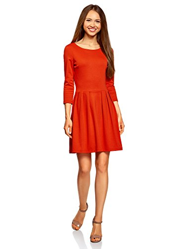 oodji Ultra Damen Tailliertes Jerseykleid, Orange, DE 42 / EU 44 / XL -