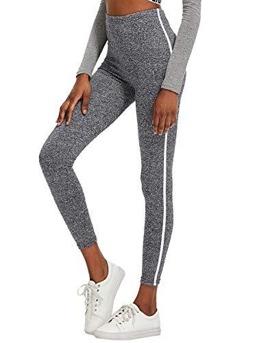 SOLY HUX Damen Leggins gestreift Laufhose Sport Leggings Capris Yoga Pants Training Tights Grau M